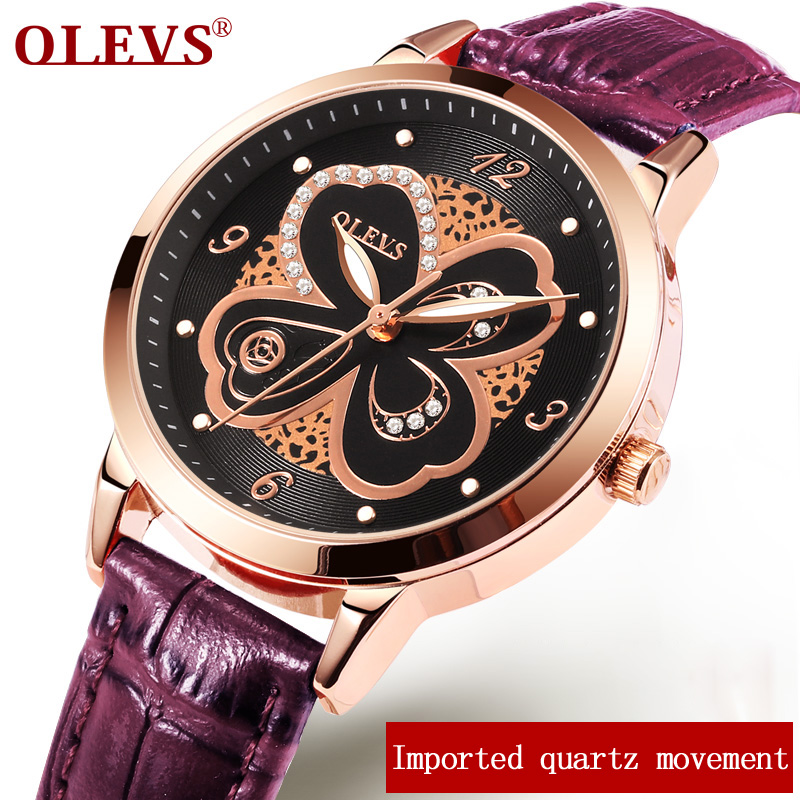 OLEVS Dress Quartz Wrist Watch Luxury Gold Dial Ladies Watches Leather Strap Clock Woman Flower Luminous Girls Watches Gift 5188 olevs 5873 luxury hollow out dial watch women luminous hands golden quartz watches leather wristwatch ladies clock reloj mujer