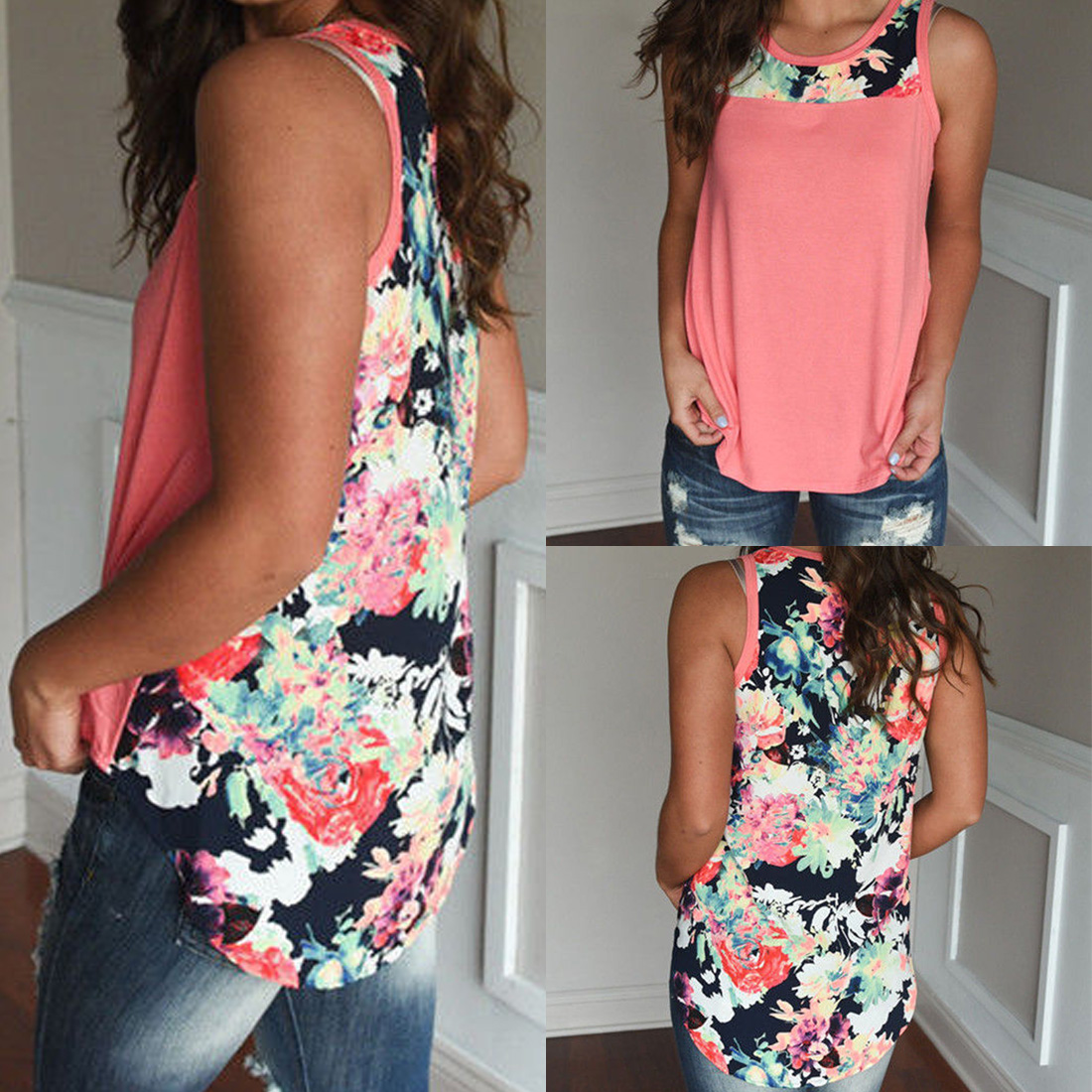 Top Quality  Casual Crew Neck Sleeveless Summer Tee Shirts Women Tops Floral Printed Patchwork Tank Vest Tops T-shirt