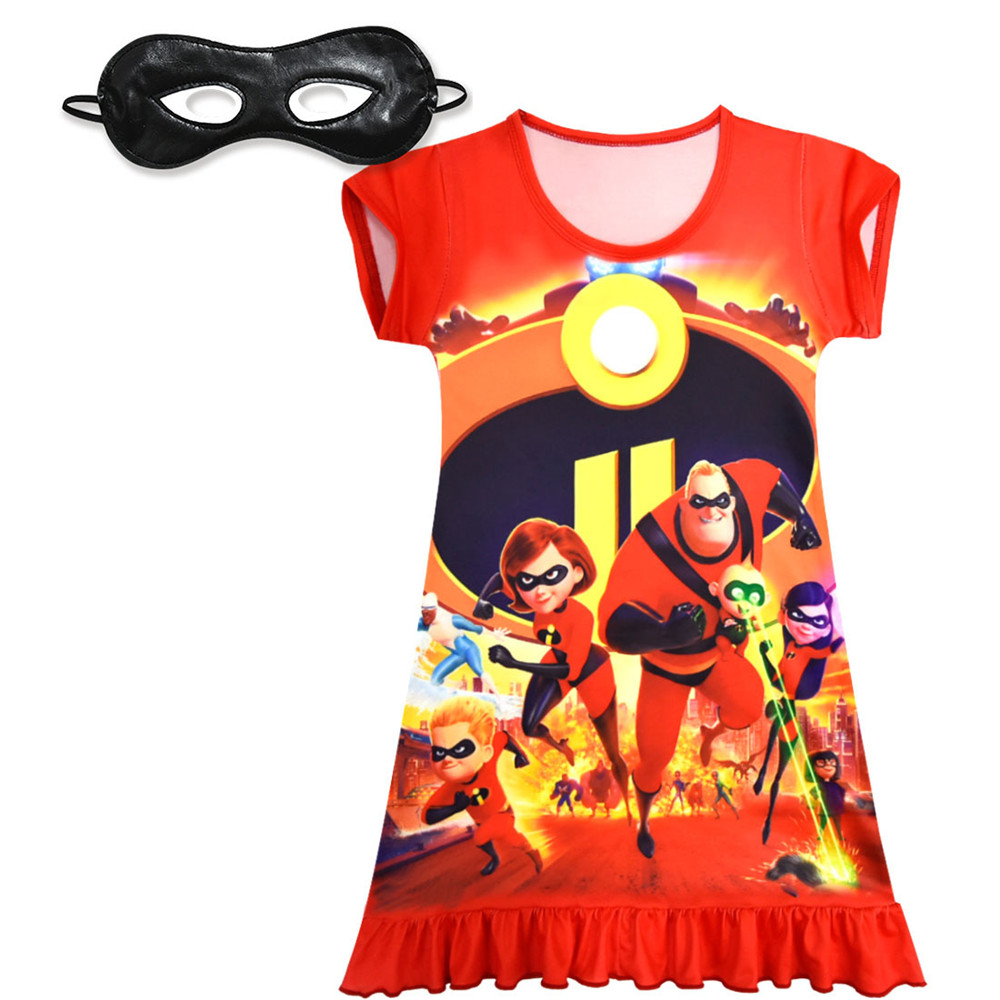 Cosplay The Incredibles 2 Cartoon kids child girls dress Set/mask bob parr Elastigirl Helen Parr dress costumes for Halloween
