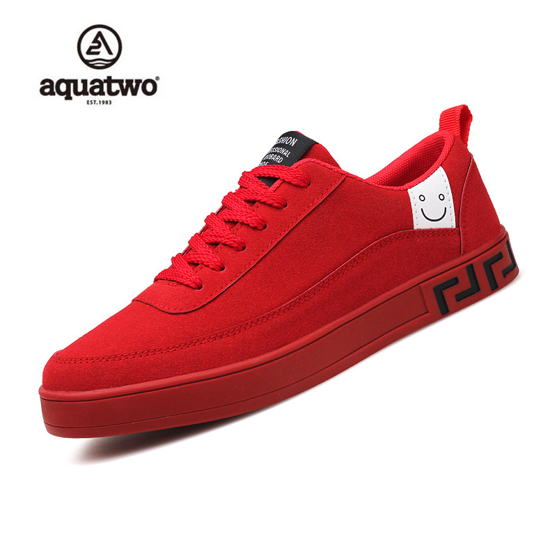 AQUATWO 2017 New Skate Shoes Men Suede Leather Lace Up Fashion Korea Style Shoes Red Black Gray Breathable Casual Shoes Men vik max adult kids dark blue leather figure skate shoes with aluminium alloy frame and stainless steel ice blade
