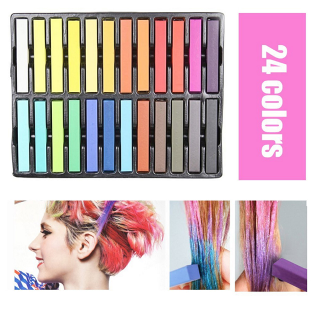 24 Pcs/Set Temporary Hair Chalk Non-Toxic Rainbow Colors Dye Pastel Kit Color Essentials Set YF2017