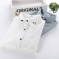 YOSIMI 2018 Spring Corduroy Women Blouse Embroidery White Slim Polyester Tops Preppy Style Long Sleeve Buttons
