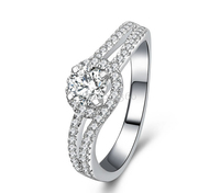 0.5ct 4 prongs ring pure 925 silver simulation NSCD sona man made diamond ring
