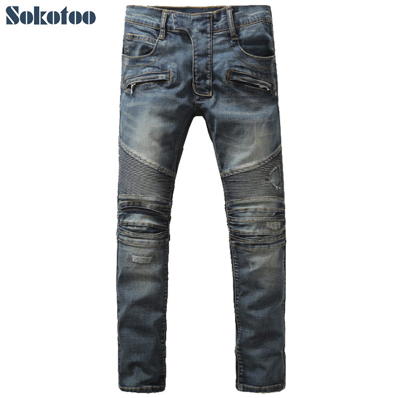 Sokotoo Men s fashion slim patch biker jeans Male casual hole ripped denim pants High quality