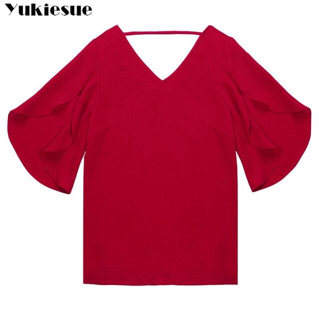 fashion woman blouses 2019 summer women's shirt blouse for women blusas womens tops and blouses chiffon shirts ladie's plus size 6