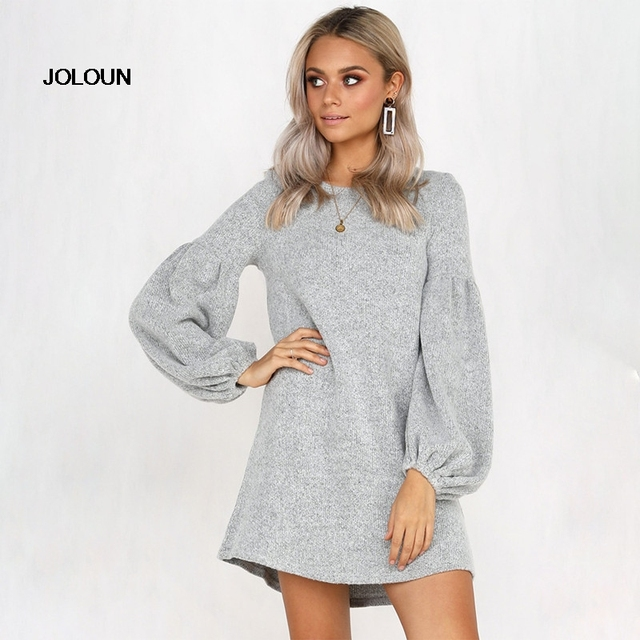 low priced 3e33e e35d1 Women Long Sleeve Pullover Sweatshirt Jumpers Ladies Sweater Dress Maglioni  Donna Casual Black Red Winter Dress Sweter Mujer-in Dresses from Women's ...