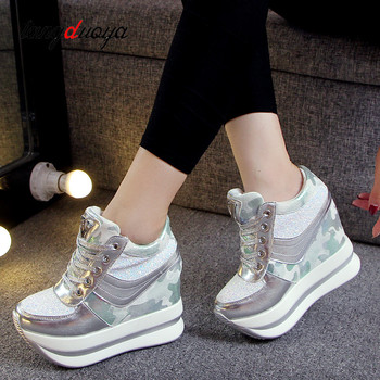 White wedge sneakers