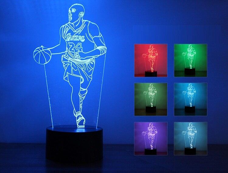 N2-Newest Nouveauté 7 Couleurs Changeantes 3D LED Table Lampe de Basket-Ball Chambre Night Light Gradient Acrylique Atmosphère Lampe