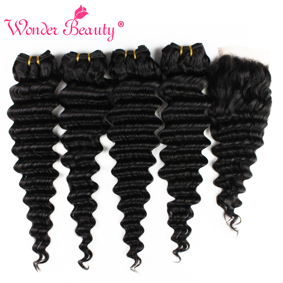 Wonder Beauty Brazilian Hair Deep Wave 4 Bundles With Closure Middle/Free/Three Part Human Hair Length 8-30inches Free Shipping