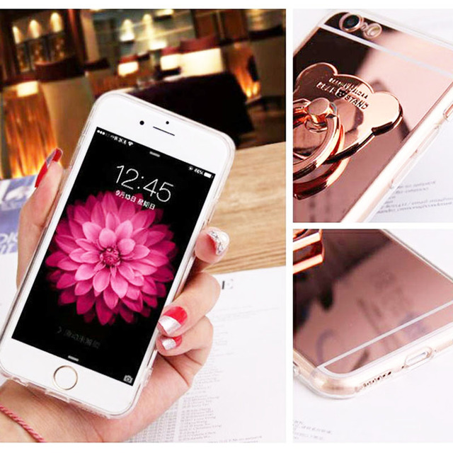 Phone Cases for iphone 7 8 plus 6 6s Luxury Cute Rose Gold Bear Holder Stand Soft TPU Mirror Cover Case for iphone X XS Max XR  5