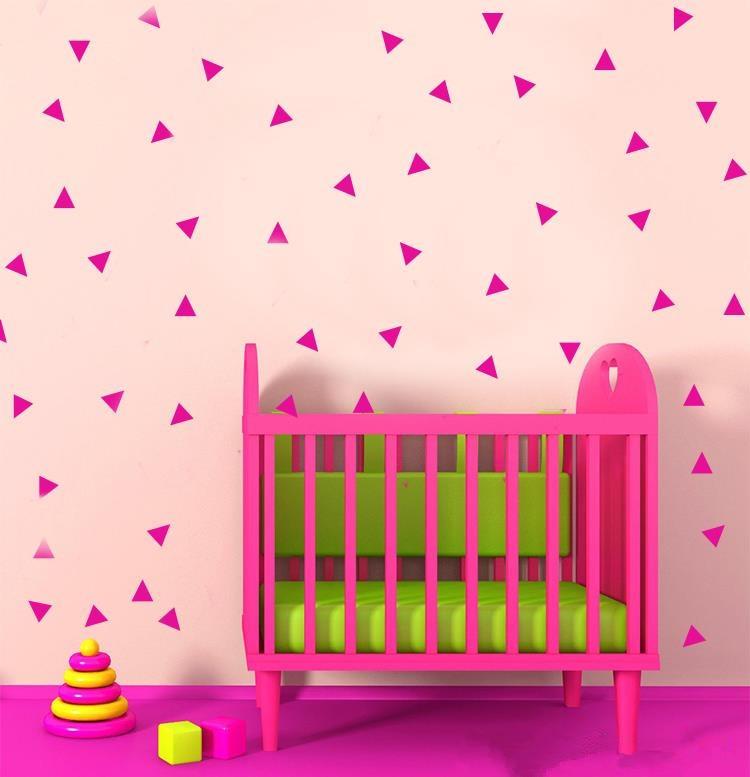 f5e1d57a9 180 قطع مثلثات الفن ملصقات الحائط ل غرفة الحضانة أو الاطفال الفينيل القابل  للإزالة الجدار صائق ملصقات muraux الديكورات D443