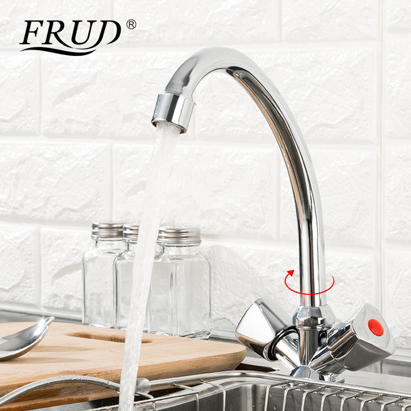 Image 3 - FRUD Kitchen Faucet Chrome plated J Letter Design 360 Degree Rotation with Water Purification Features Double HandleKitchen Faucets   -
