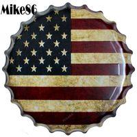 [ Mike86 ] USA Flag Bottle Cap Metal Painting Vintage Souvenir Home Gift Party Store Wall Decor 40 CM BG 23
