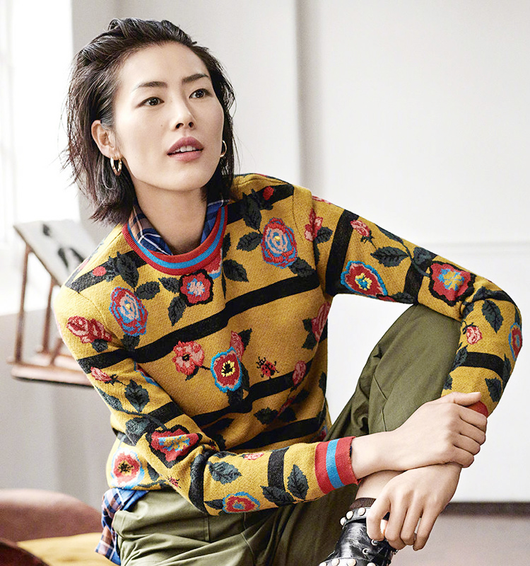 HAMALIEL Runway Designer Autumn Winter Women Sweater Vintage Printed Floral Thick Long Sleeve Knitted Pullovers Fashion Tops
