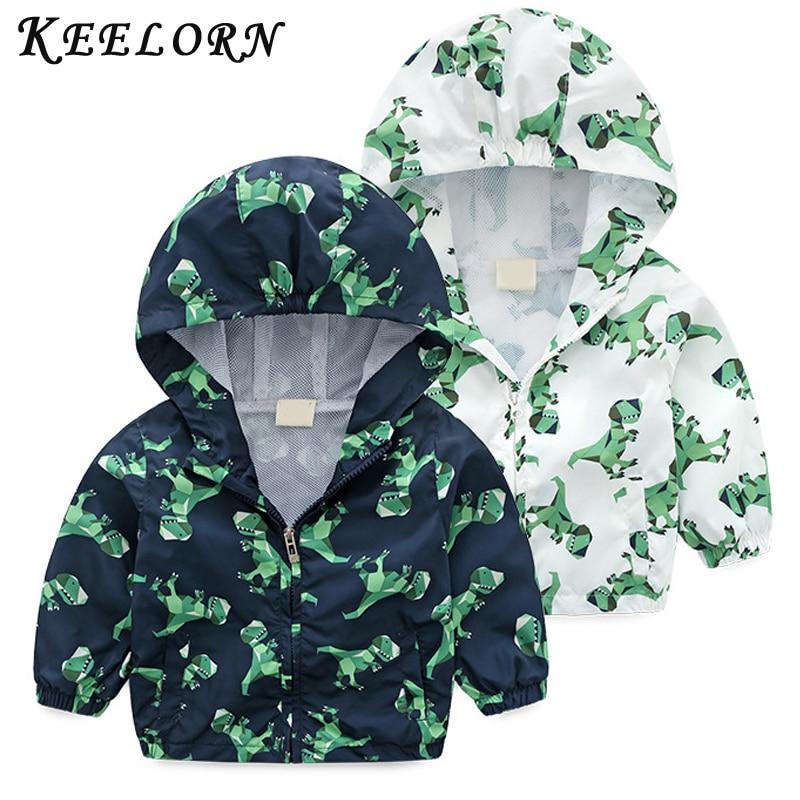 Keelorn Children's Jacket Dinosaur Coat Water-Proof Clothing Outwear Hooded Spring Boys