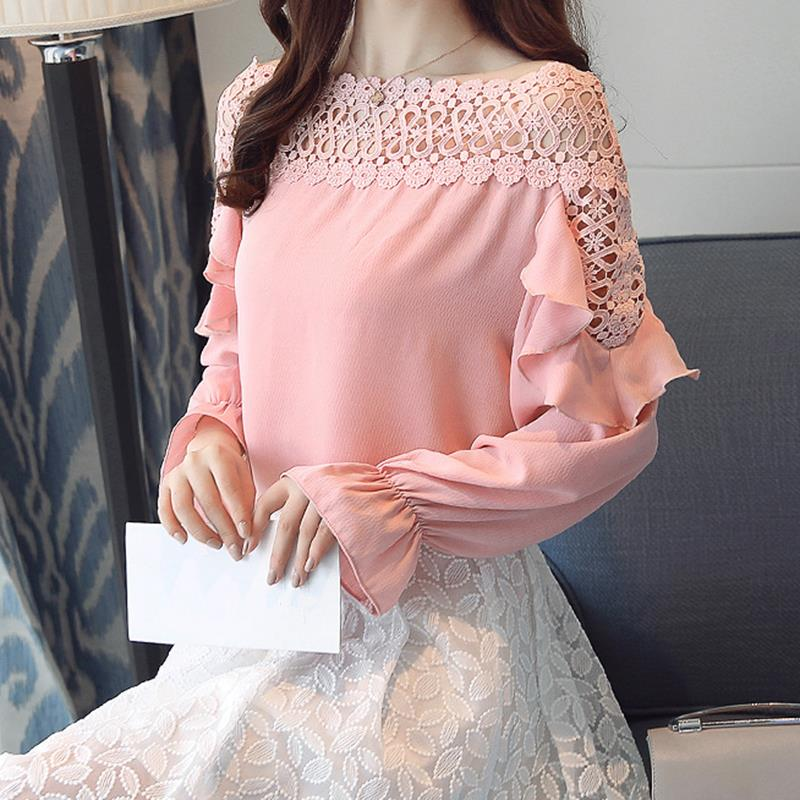 Women Chiffon Blouse New 2018 Off Shoulder Lace Patchwork Spring Work Shirt Long Sleeve Ruffle Office Shirts Casual Tops WS6346O