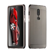 For Oneplus 6 Case Oneplus6 Brushed Back Cover Hard with Plating Metal Frame for 1+6 One plus
