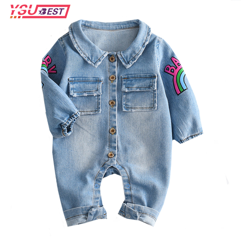 Infant Clothes Newborn Jumpsuit 2017 Soft Denim Baby Romper Graffiti Cat Babies Boy Girls Costume Cowboy Fashion Jeans Children chinese retro baby rompers ropa bebe cotton newborn babies infant 0 24m baby girls boy clothes jumpsuit romper baby clothing