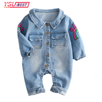 Infant Clothes Newborn Jumpsuit 2017 Soft Denim Baby Romper Graffiti Cat Babies Boy Girls Costume Cowboy