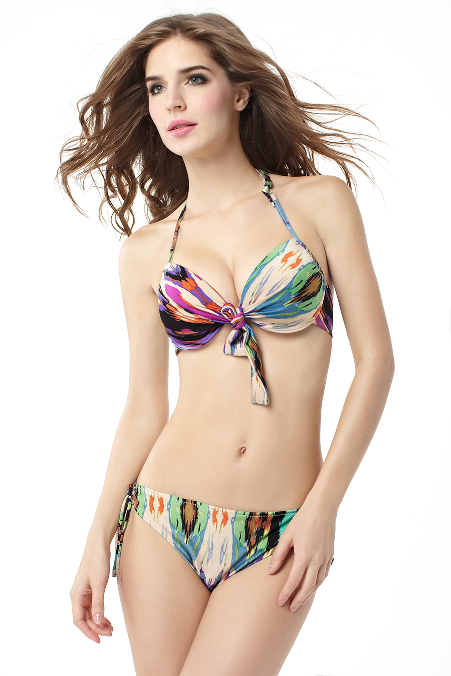 Woman Lady Summer Sexy Halter Painting Brazilian Bikini -5690