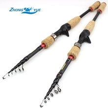 Best Buy High Quality Fishing Rod 2.1m 2.4m Spinning Fishing Rod M Hard Telescopic Fishing Rod Carbon Fiber Casting Rods Free shipping