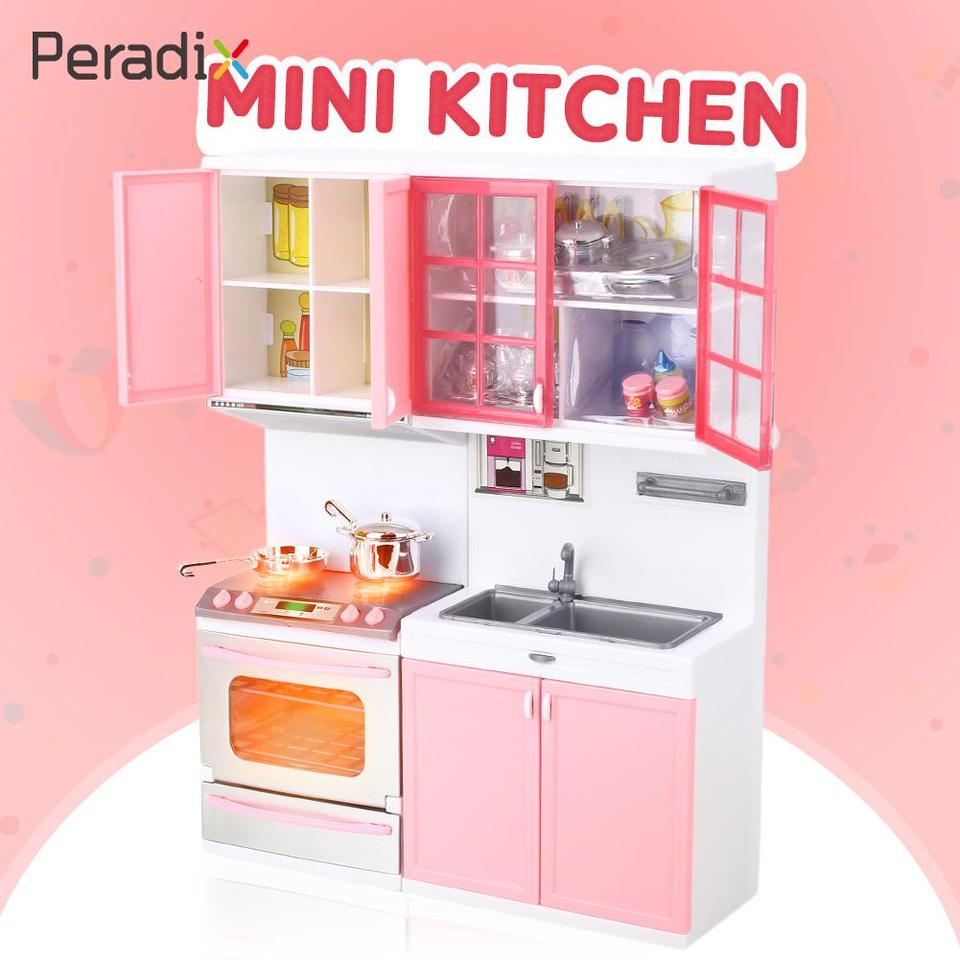 Girls Kitchen Toy Pretend Kitchen Pink Portable Cooking Playset 1 Set  Plastic Pretend Play Cookware Role Playing Food