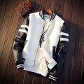 2016 Otoño Invierno de la Chaqueta de Cuero de Los Hombres Jaqueta De Couro Masculina Chaqueta de Piel Sintética Pu Motercycle Bomber Biker Jacket