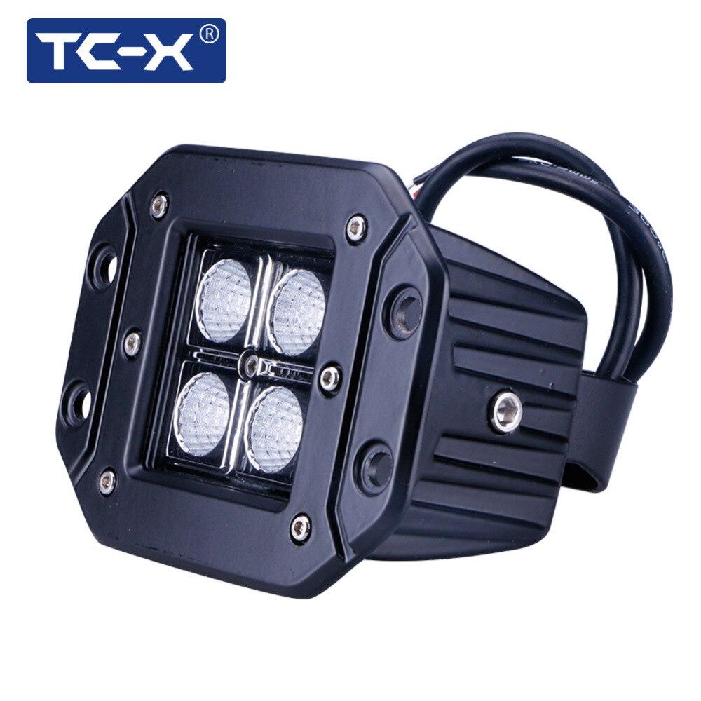 TC-X 12W led working lights Car Styling Flood Offroad Light for Truck Flush Mount External Light Truck Tractor car led bar