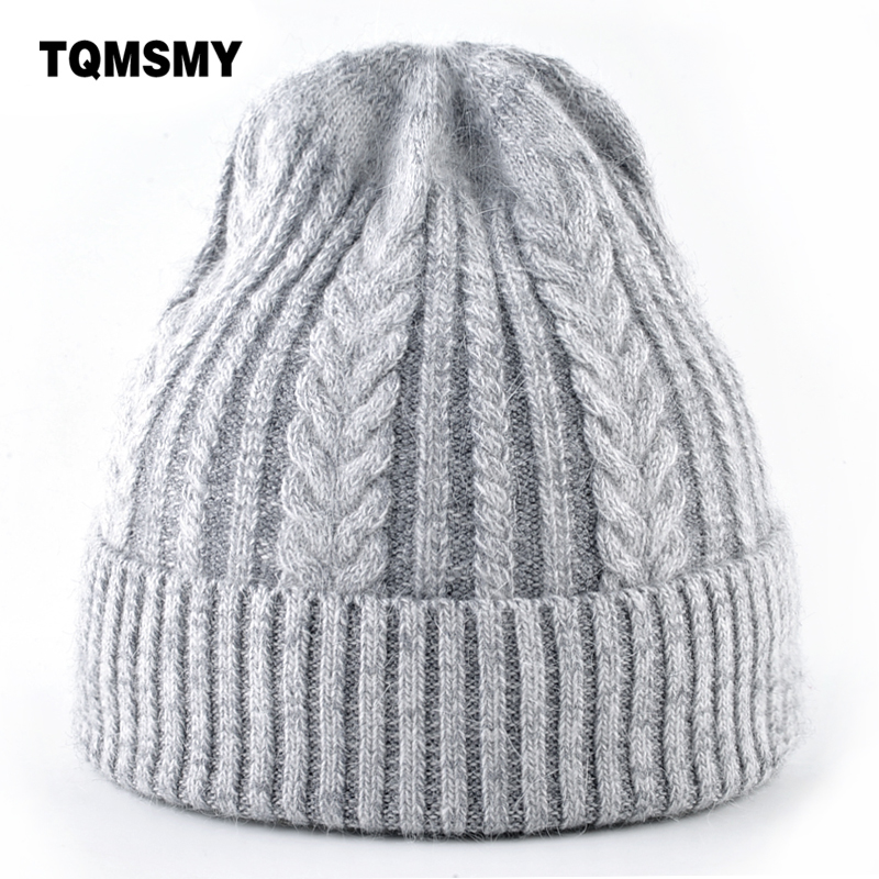 Steeple hat women Knitted Rabbit hair   beanies   men's winter hats Solid Color Hip-hop Cap girls   skullies   women gorros bonnet