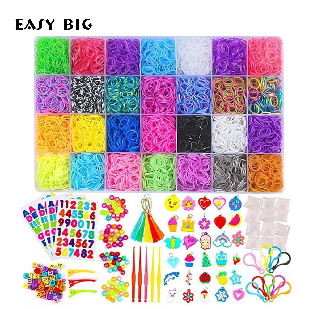 10000 Loops/Set Diy Toys Rubber Bands Bracelet For Kids Or Hair Rubber Band Make Woven Bracelet DIY Christmas Gift TH0059