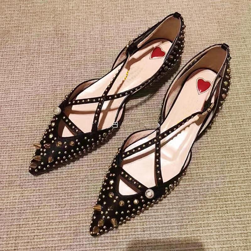 heel Remaches 3cm Hebilla Cuero Partido Negro Zapatos De Señora Ballet Otoño Sexy Verano correa 2018 Cruz Flat Lujo 5cm Stylesowner Mocasines qt0UwHxgP