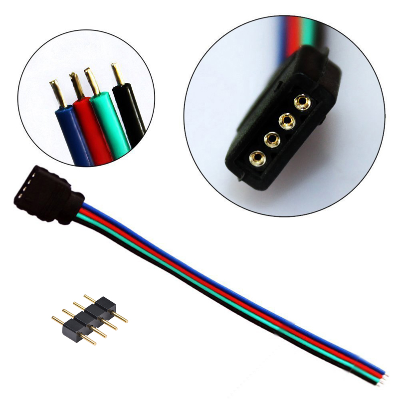 10PCS LED RGB Strip Light Connector 4 pin led cable Male female Adapter wire for 3528 5050 SMD RGB Led Strip light lighting led strip accessories 4 pin 1 to 4 female led rgb splitter connector extension cable for 3528 5050 rgb led strip light