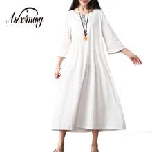 0a03f14c82 Summer Casual Loose Vintage Dress Women Elegant Floral White Maxi Long Dress  Vestidos 2018 Big Size Cotton Linen Dresses Robe