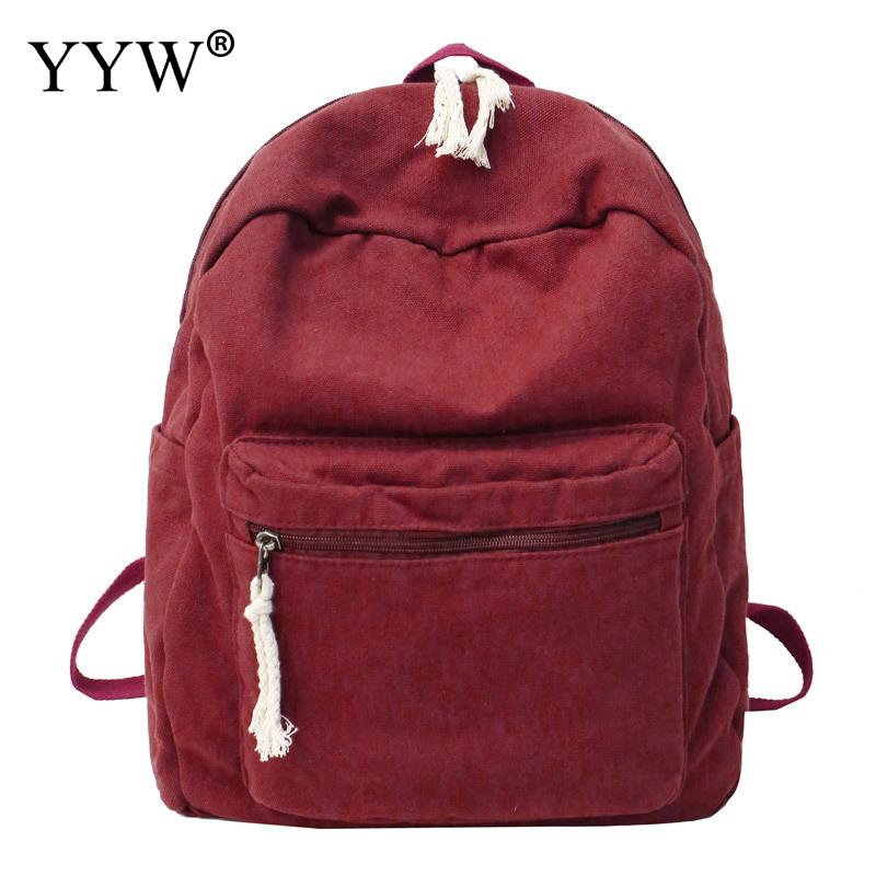Backpack Female Red Bookbag Women Hand-Bags Soft-Shoulder-Bag Canvas Large-Capacity Casual