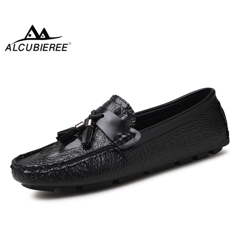 ALCUBIEREE Loafers Driving-Shoes Leather Moccasins Tassels Crocodile-Pattern Casual Mens