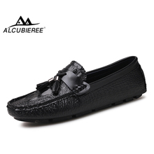 ALCUBIEREE Fashion Loafers with Tassels Mens Comfort Driving Shoes Men Casual Leather Moccasins Crocodile Pattern Boat