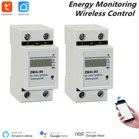 2 Pcs Alexa Compatible Tuya Power Meter WiFi Power Consumption Switch Energy Monitoring Meter 110V/220V Din Rail Remote Control