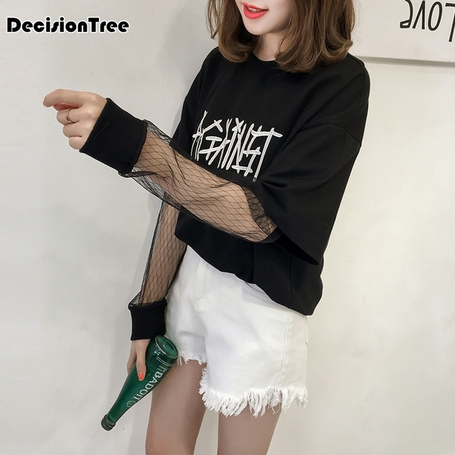 50a6931c8b1 2019 new lace tops mesh crop top women transparent black fishnet long sleeve  t shirt ladies wear shirts
