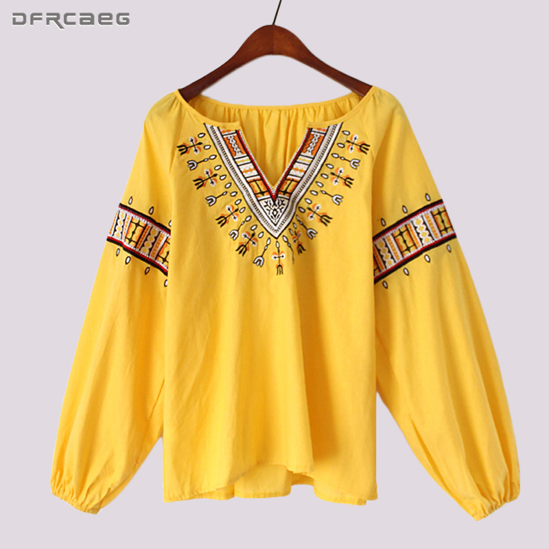 Ethnic Embroidery Blouse Boho Clothing Summer Tops For Women 2018 Vintage Shirt Loose Long Sleeve Cotton Blusas Femininas Casual