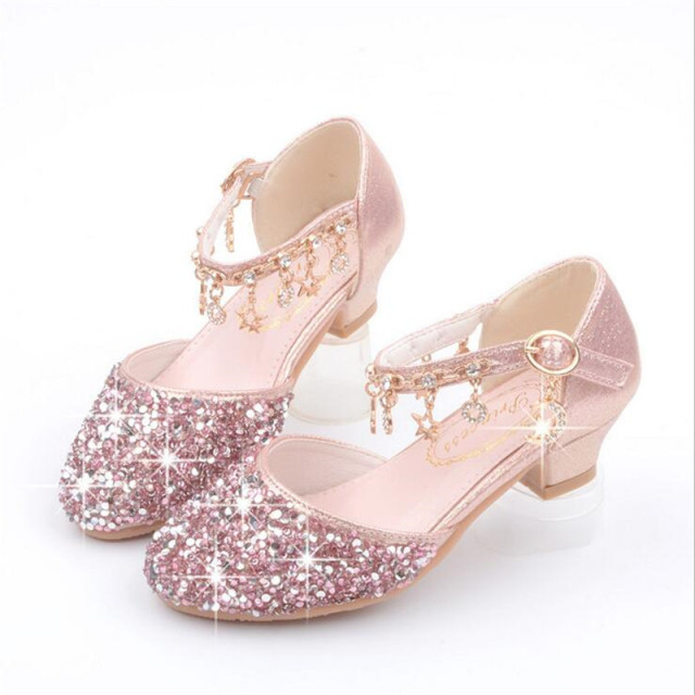 e910f67f50ae Children Princess Sandals Kids Girls Wedding Shoes High Heels Dress Shoes  Bowtie Gold PU Leather Shoes