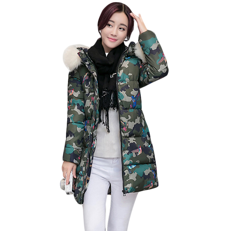 2017 New Winter Women Hooded Cotton-padded Printing Jacket Female Medium-long Slim Camouflage Pattern Parkas Warm Coats CM1725 new 2017 winter hooded jacket women cotton wadded overcoat medium long slim casual fashion parkas female denim blue coats cm1509