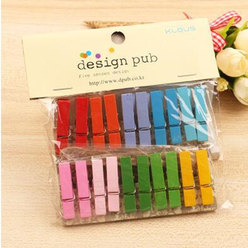 1set(20pcs) Beautiful Design Mini Color Wooden Clips Decorations Paper Photo Spring Clip For Message Cards Office Supply