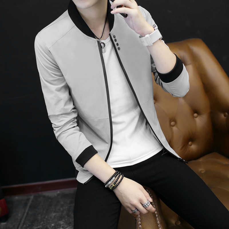 2018 новая весенне-осенняя Повседневная однотонная Модная тонкая мужская куртка-бомбер мужская бейсбольная Мужская ветровка мужские куртки, пальто куртка 3XL