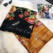 Luxury Brand Women Scarf Oversize Pure Silk Scarves and Bandana Female Foulard Big Long Shawl Fashion New Flower