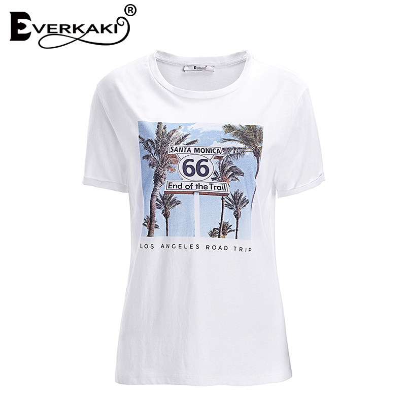 Everkaki Route 66 Print Vintage T-Shirt Wome Tops White O Neck Casual Bohemian T-Shirts Female 2018 Summer Clothing For Women