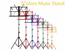 Colourful Sheet Folding Music Stand Metal Tripod Stand Holder With Soft Case Free Shipping Wholesales jdr lightweight metal tripod music stand sheet folding music holder for instrument books with waterproof carry bag black