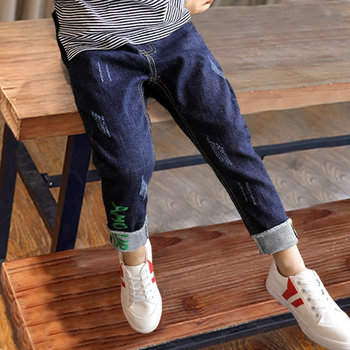 Boys pants 2018 spring kids clothing big boys jeans doll cotton trousers baby children letter roupas infantis menina leggings Boys Jeans