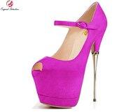 Original Intention Super Sexy Women Pumps Fashion Peep Toe Half Stiletto Metal Heels Nice 7 Colors Shoes Woman Plus US Size 4 15