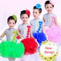 New 4 Color Girls Sequined Ballet Dancewear Dress Kids Salsa Party Weeding Dress Children's Jazz Fancy Tutu Dress