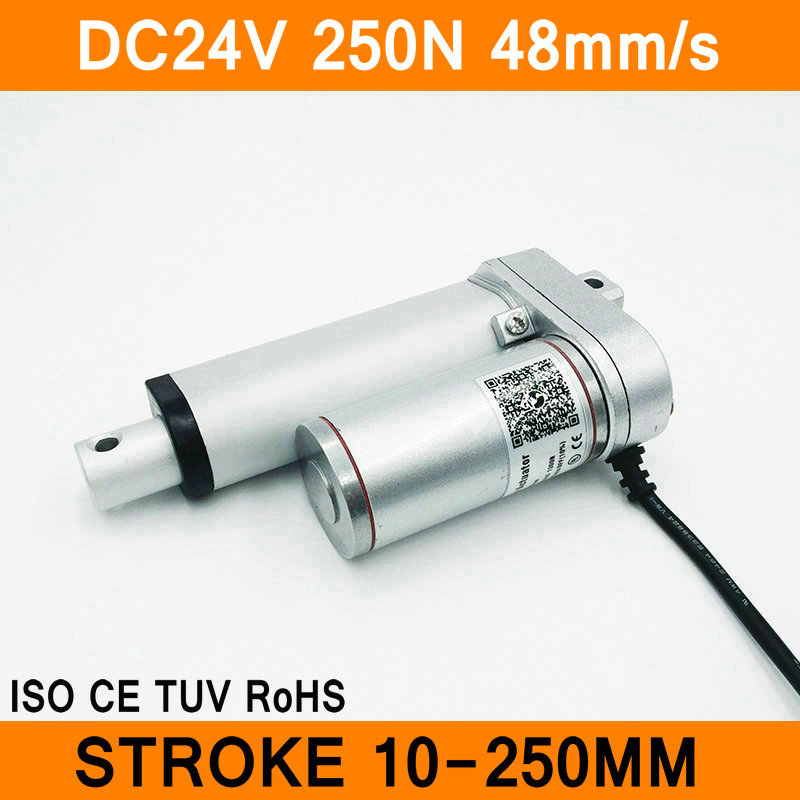 Linear Actuator 24V DC Motor 250N 48mm/s Stroke 10-250mm Linear Motion Controller IP54 Aluminum Alloy Waterproof CE RoHS ISO linear actuator 24v dc motor 250n 48mm s stroke 300 1200mm linear electric motor ip54 aluminum alloy heavy duty ce rohs iso